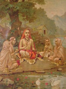 Adi Shankara with Disciples, by Raja Ravi Varma (1904)